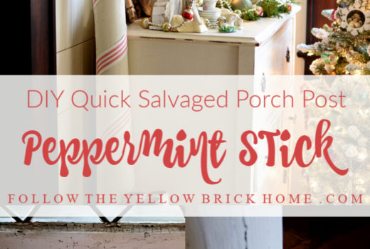 DIY porch post peppermint stick using striped ribbon
