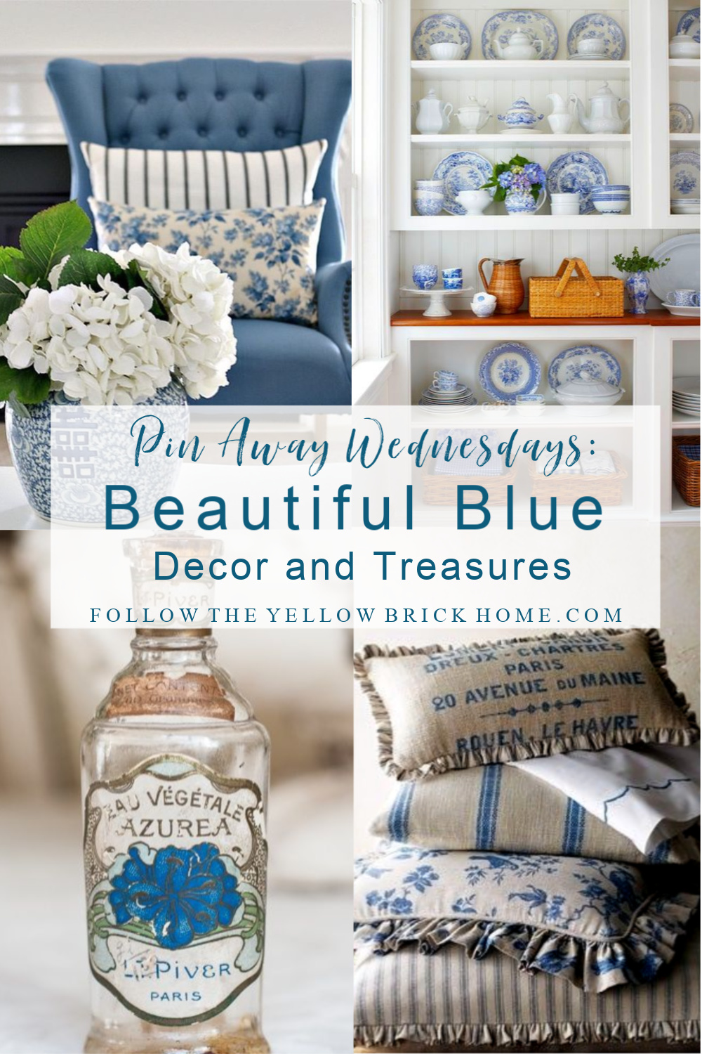 Beautiful blue decor, vintage collectibles blue and white pottery, chinoiserie, ginger jars, decorating with blue