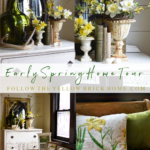 Early Spring Home Tour vintage spring vingette with daffodils and forysthia