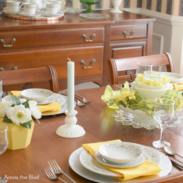 spring tablescape yellow vintage milkglass