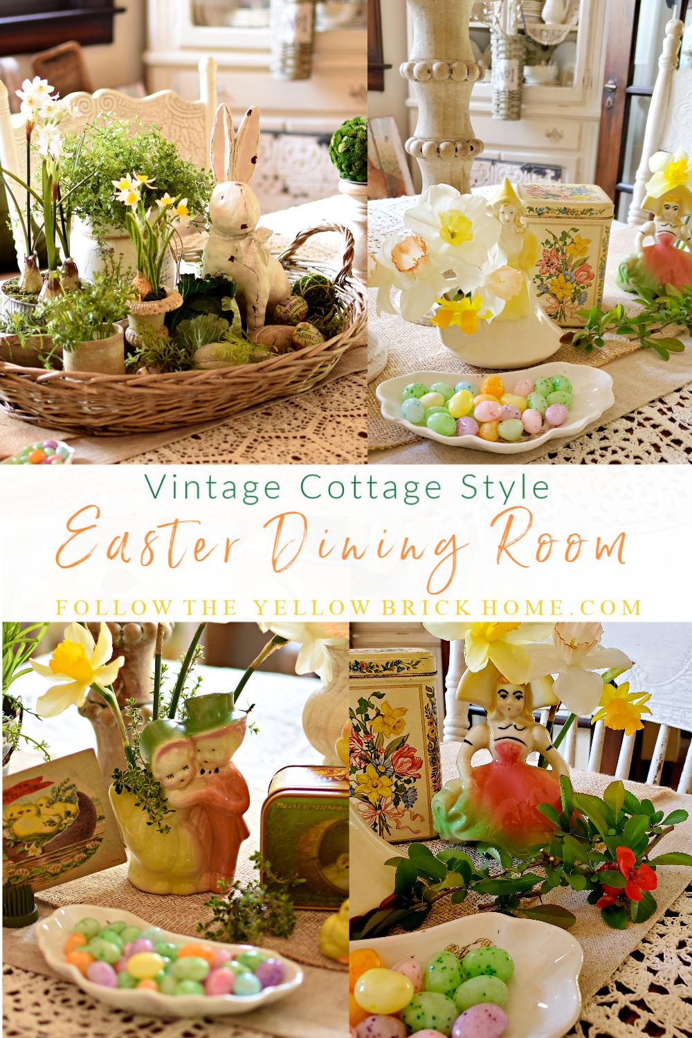 Vintage Cottage Style Easter Decor Vintage planters