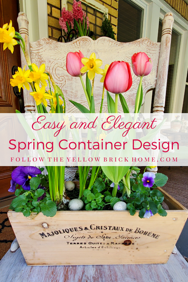 French country spring container ideas tulips, tete a tete daffodils and panises