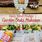 Easy Mod Podge Makeover Garden Stake Makeover using an old calendar image and Mod Podge