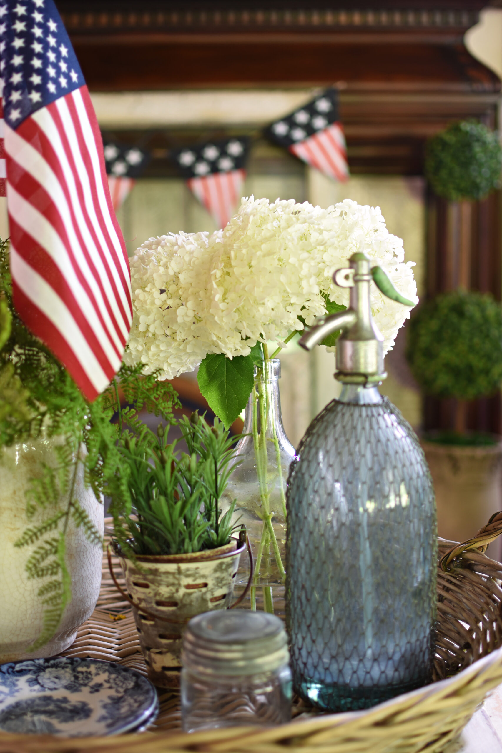 patriotic decor demijohn with hydrangeas French seltzer bottle
