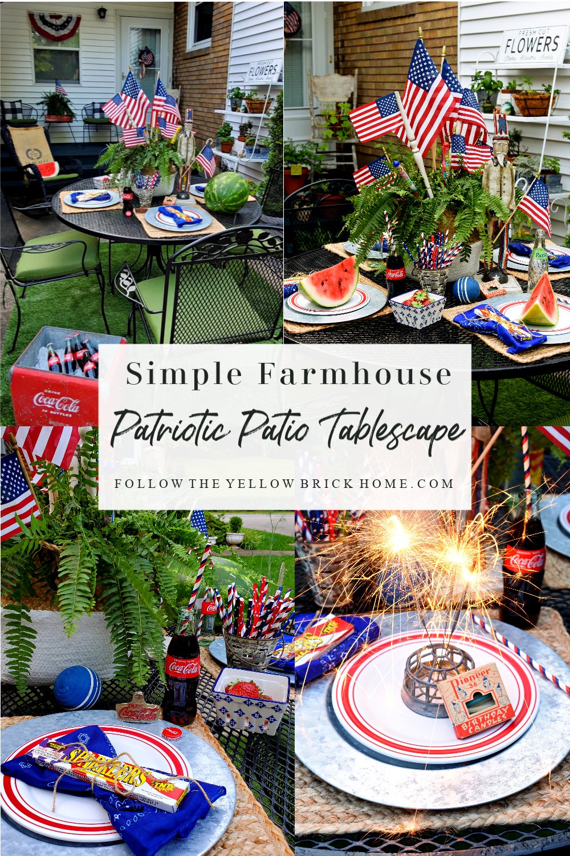 Simple Farmhouse Patriotic Patio Tablescape