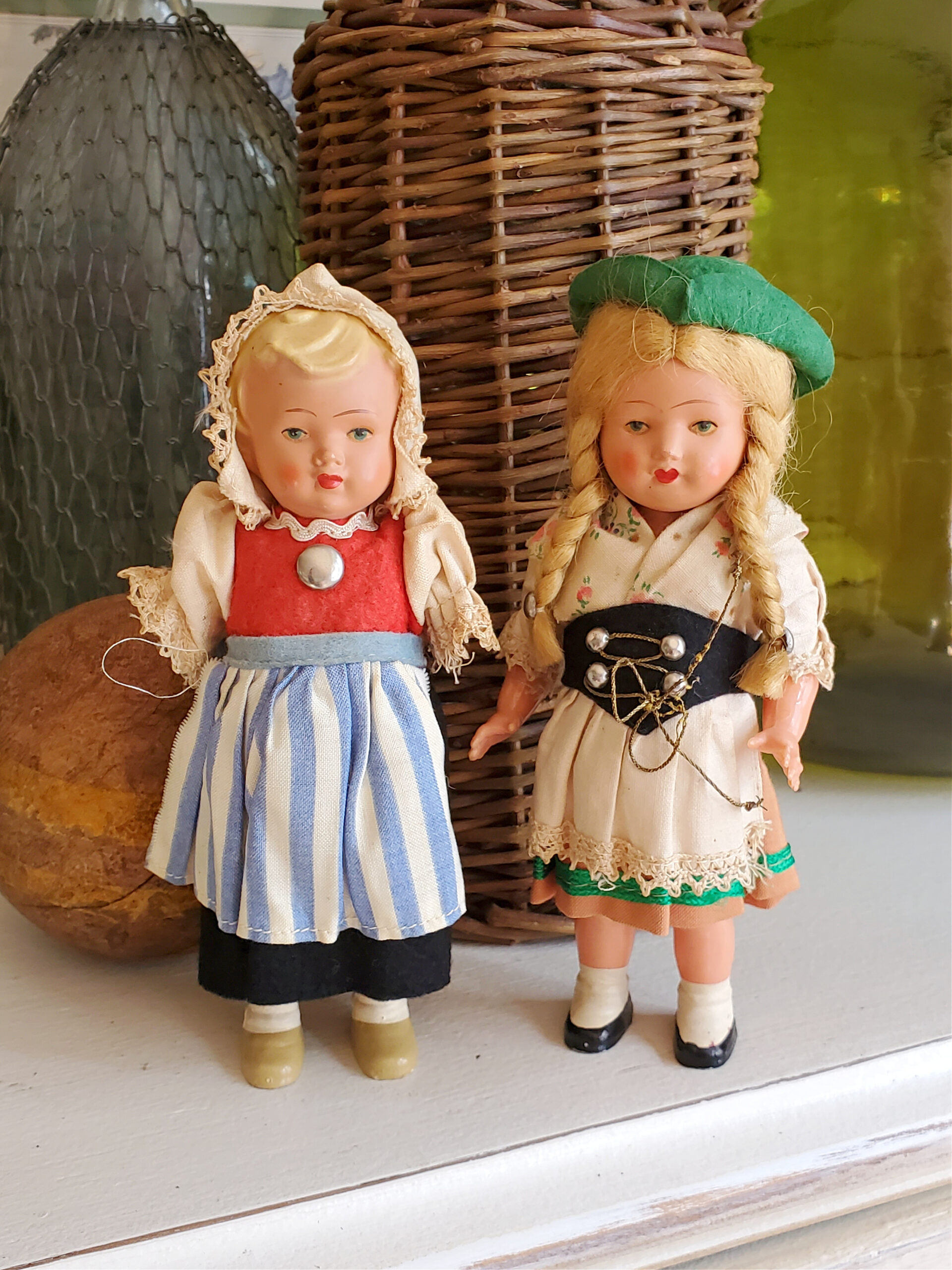 vintage danish celluloid costume dolls vintage doll Denmark