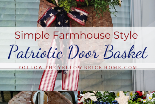 How to make a simple farmhouse style patriotic door basket for the Fourth of July Patriotic Door Decor Wreaths Door Basket ideas