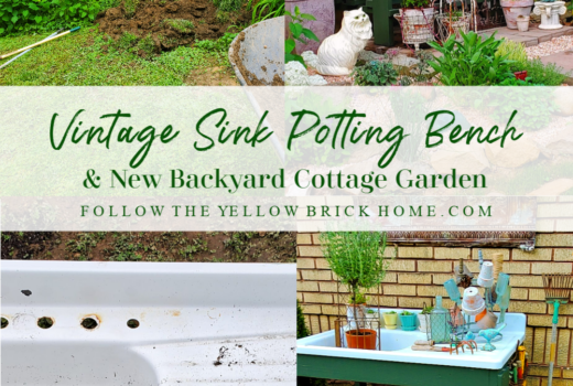 Vintage cottage junk garden with DIY repurposed vintage sink potting bench