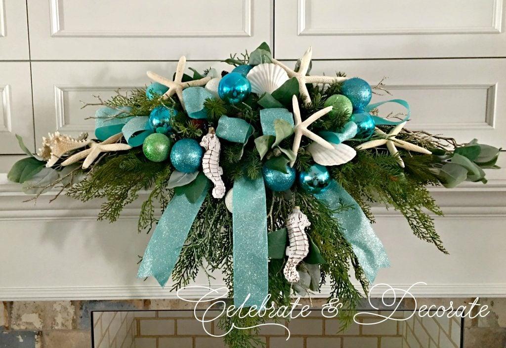 coastal Christmas decor coastal Christmas Mantel