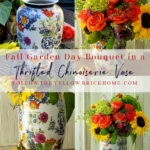 Beautiful fall bouquet in a chinoiserie vase bold fall flower arrangement #fallflowerarranging