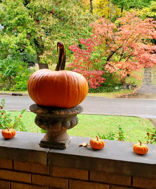 Orange pumpkin on an urn pretty fall porch ideas fall porch