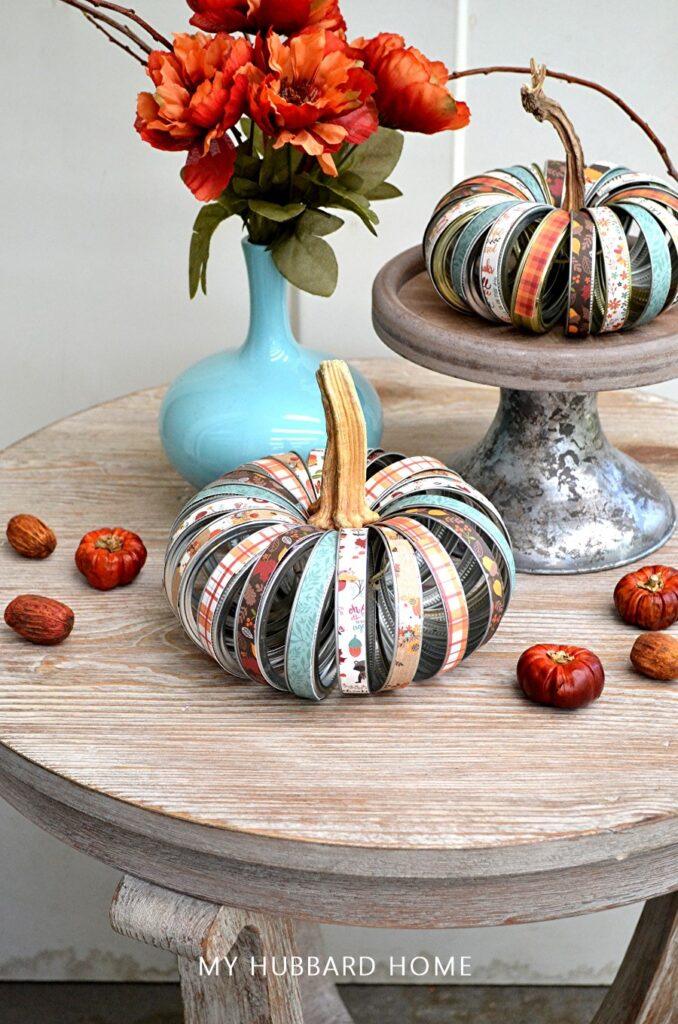 fall crafts mason jar lid pumpkin via My Hubbard Home