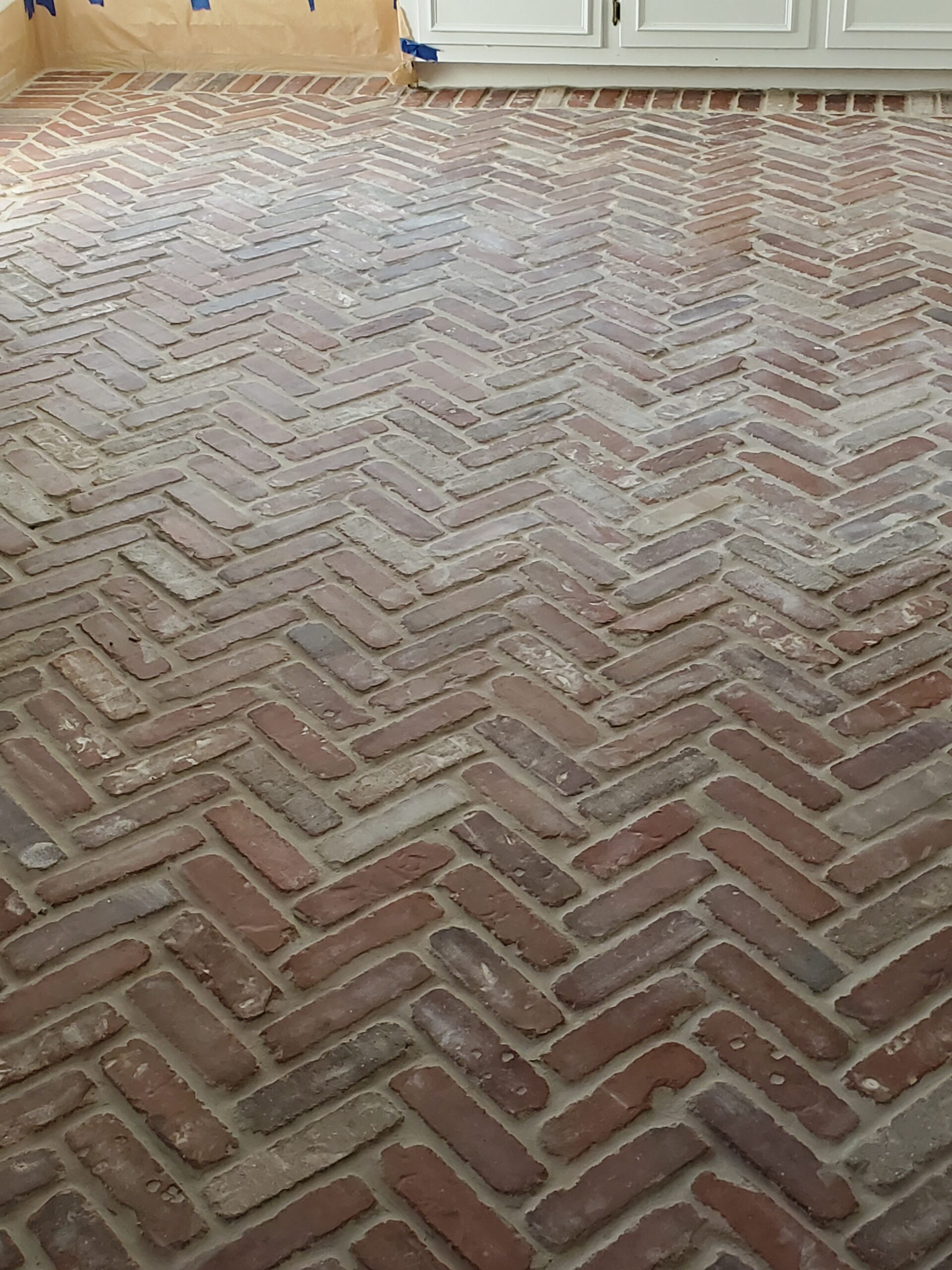 DIY Brick Paver floors Brick Paver floor Brick Kitchen Floor Grout herrinbone brick floor