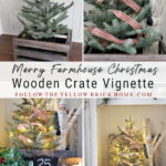 wooden crate Christmas vignette Farmhouse Christmas crate Farmhouse Christmas crate with mini tree, mini-lights and Belsnickle Santa