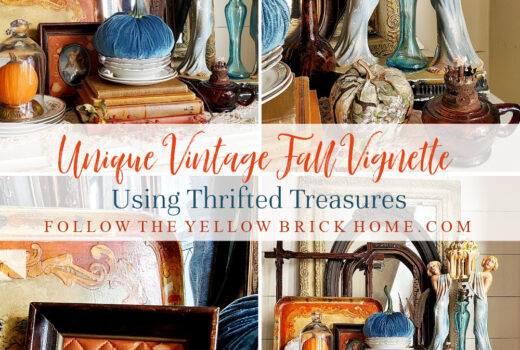 Unique Vintage Fall Vignette using thrifted treasures antiques and vintage fall decorating ideas