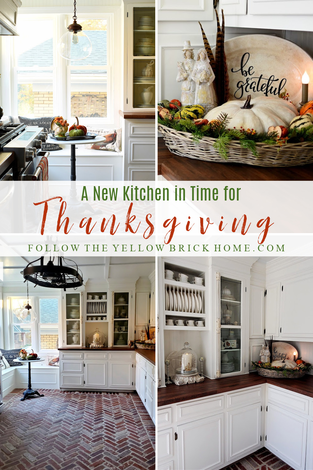 Vintage 1920's kitchen decorated for Thanksgiving vintage cottage kitchen Thanksgiving decor #Brickfloors #brickpaverfloor