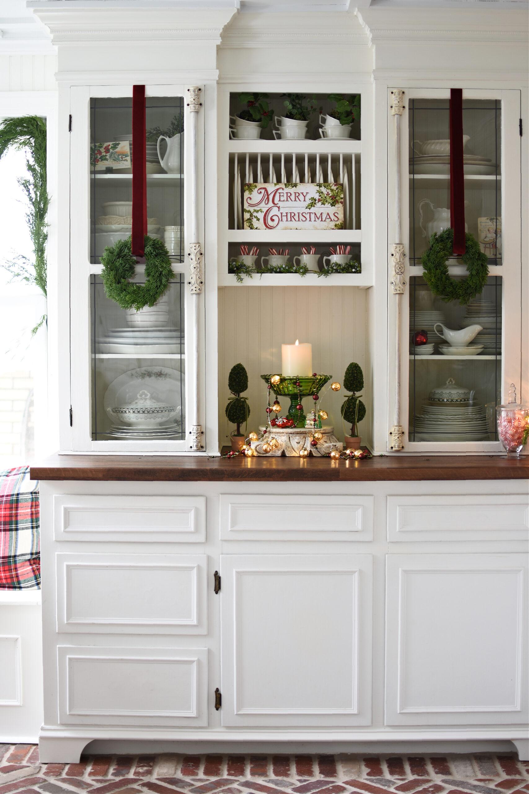 Beautiful Christmas kitchen with herringbone brick floors