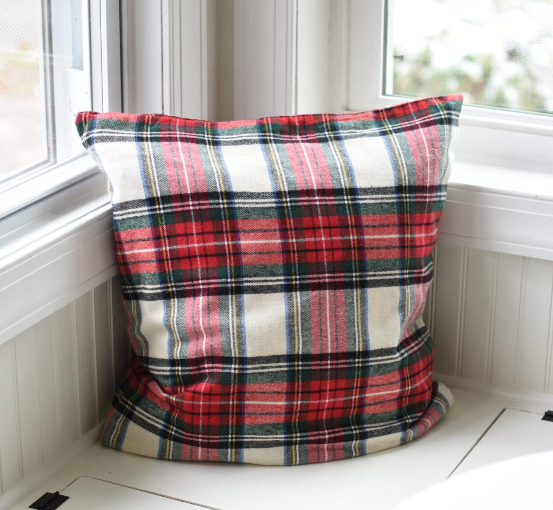plaid fabric drawstring gift sack as pillow cover plaid Christmas pillows