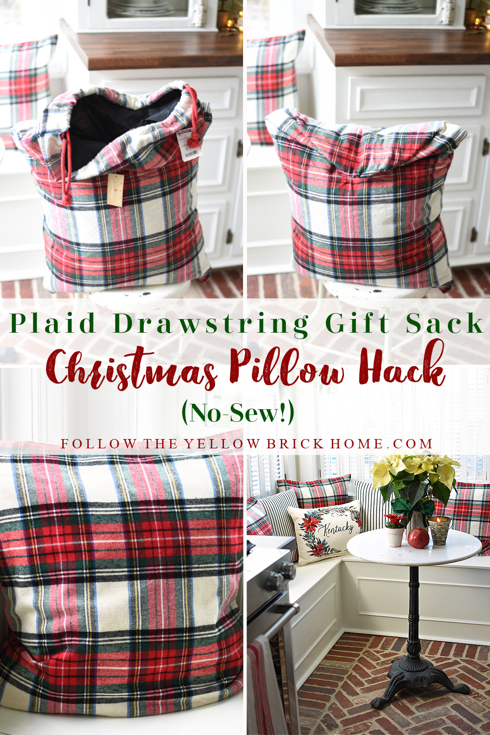 Plaid Drawstring Gift Sack Christmas Pillow Hack how to make a no-sew pillow cover from a drawstring Giftbag plaid christmas pillows #plaid #plaidpillows
