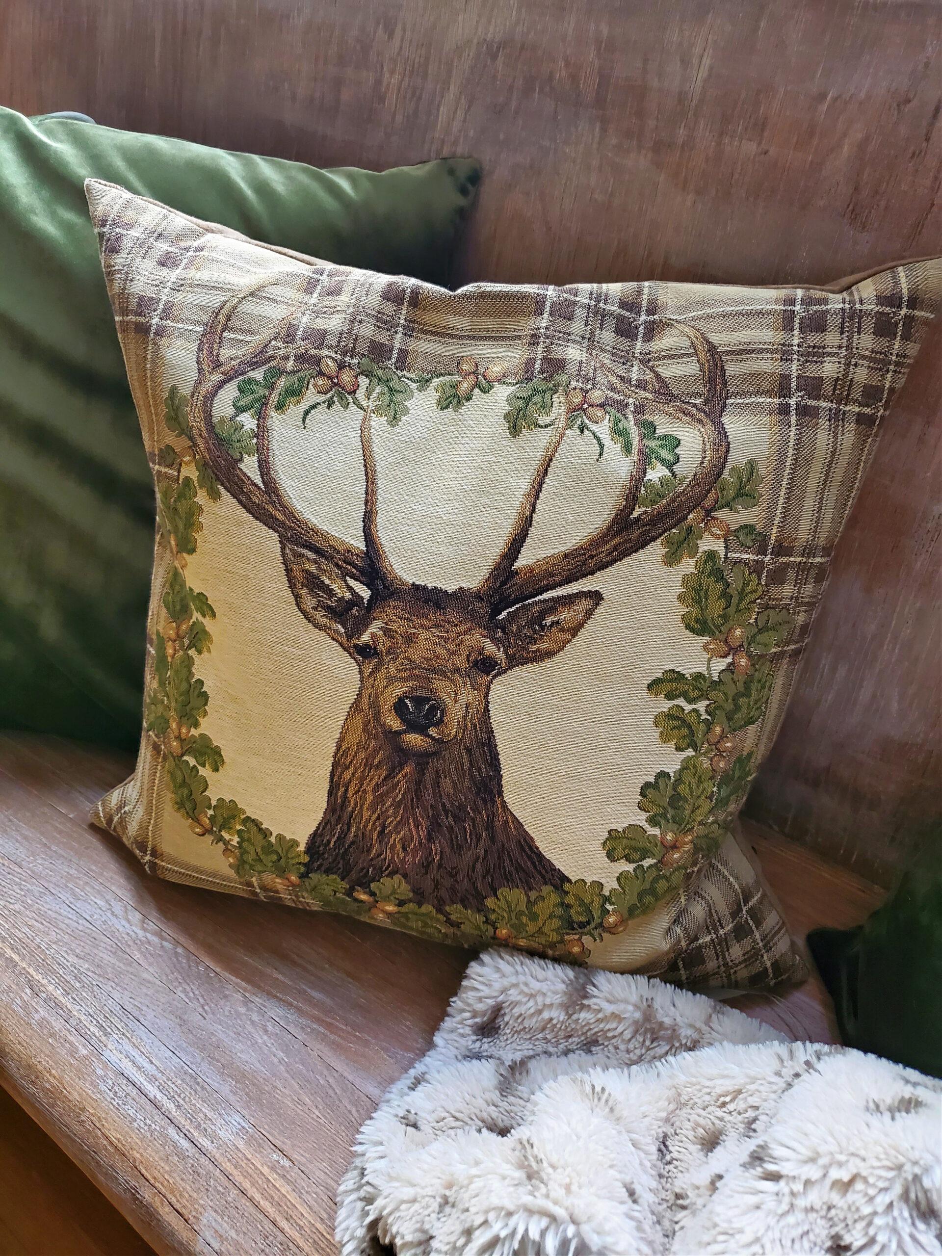 buck pillow deer pillow with acorns rustic winter decor