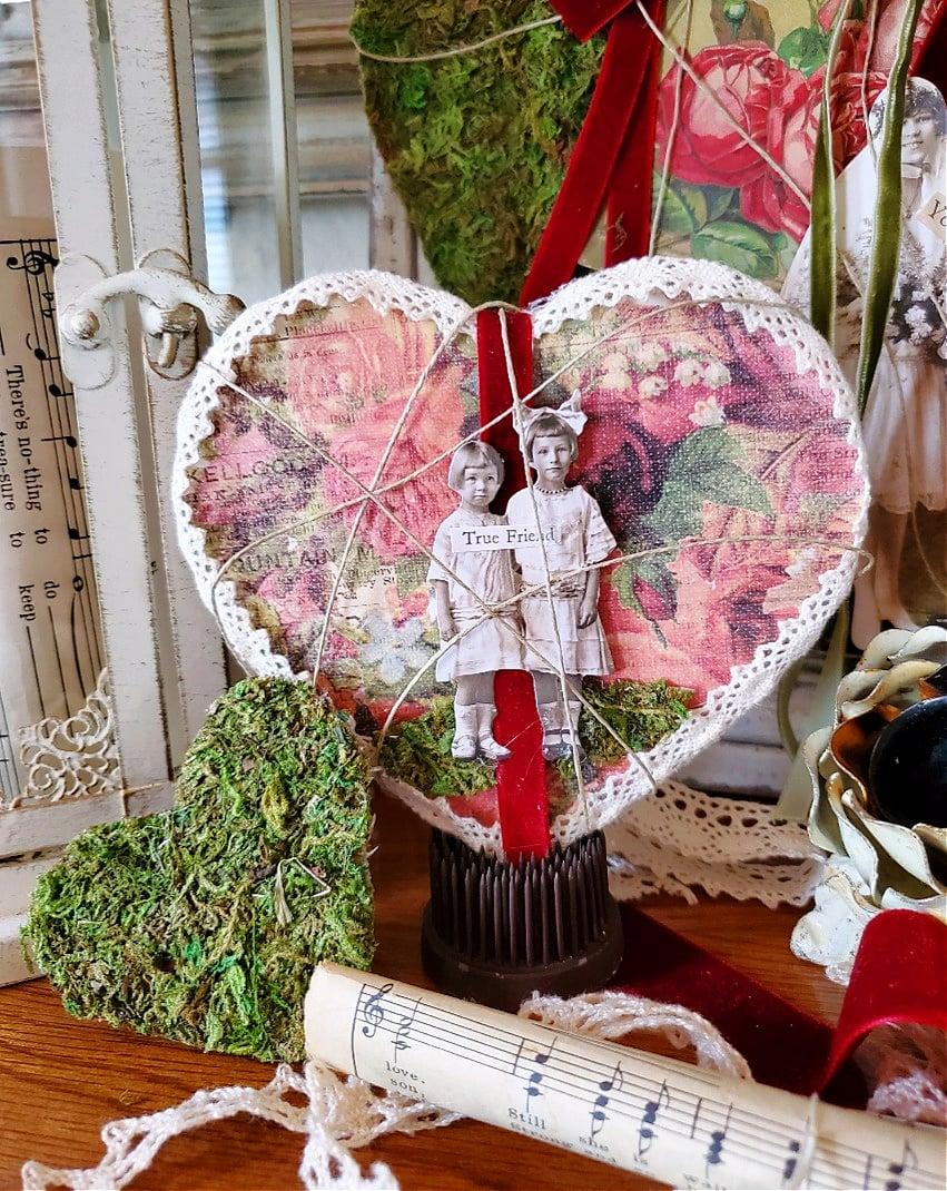 Shabby chic Valentine's Day hearts scrapbook hearts DIY Valentine's Day hearts