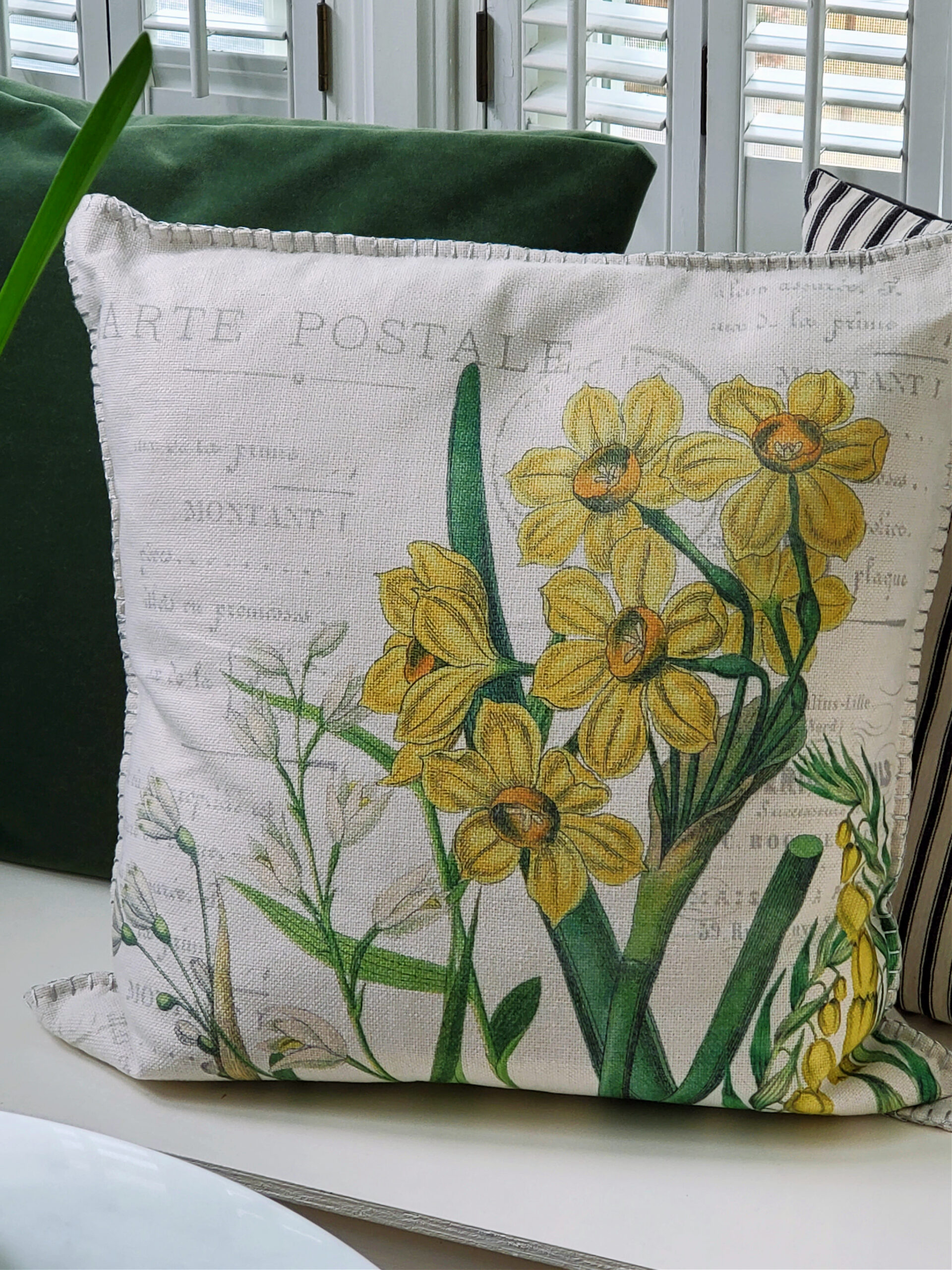 French botanical daffodil pillow