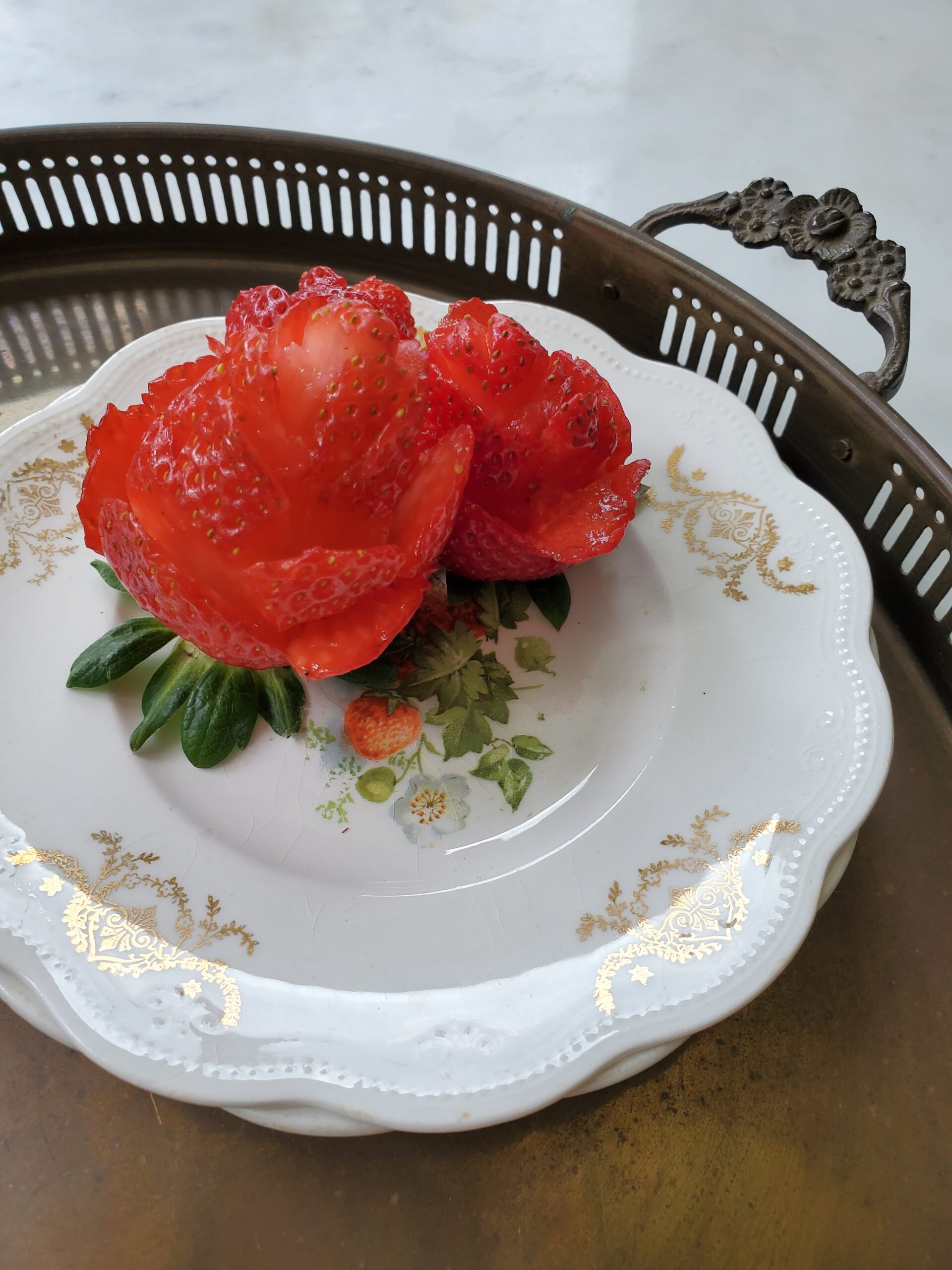 strawberry roses on vintage strawberry dishes