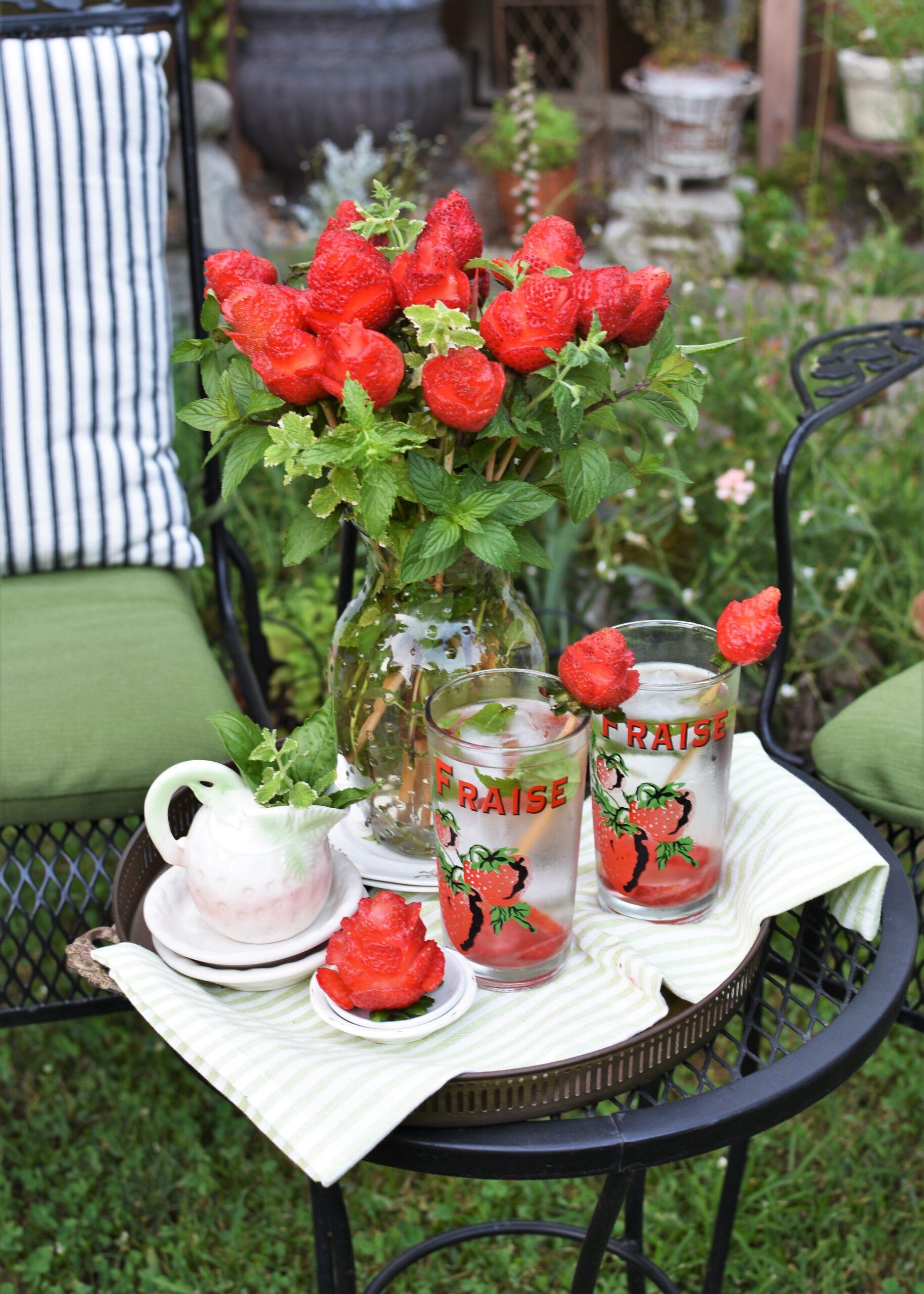 Edible Strawberry Roses bouquet elegant summer picnic strawberry picnic stawberry decor