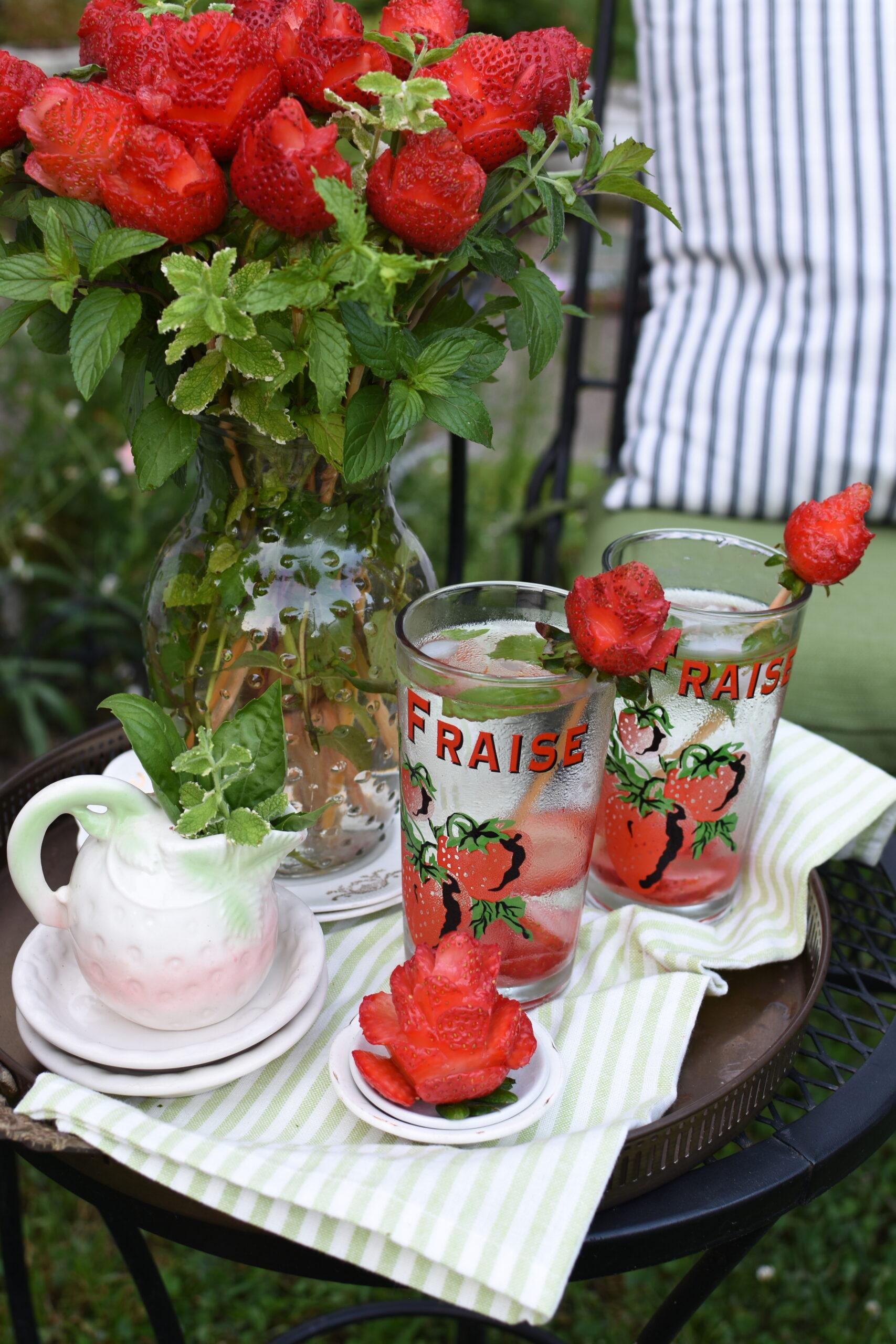 strawberry roses mint bouquet elegant summer picnic ideas