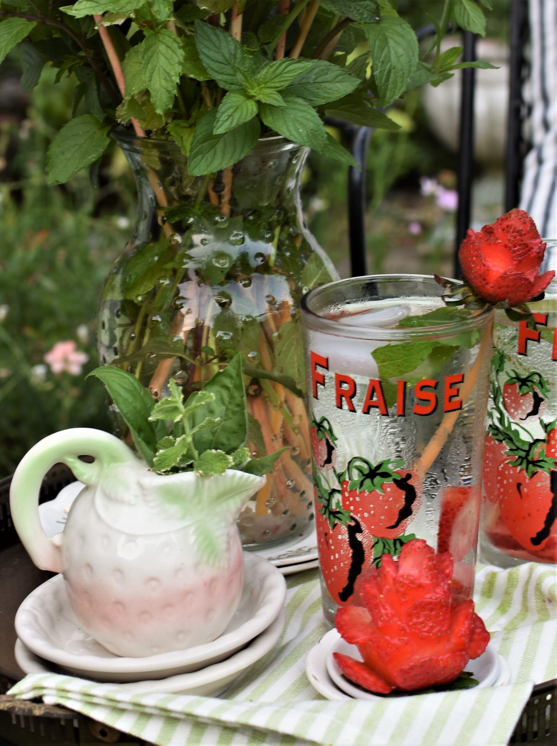 vintage small strawberry creamer with herb strawberry roses summer picnic
