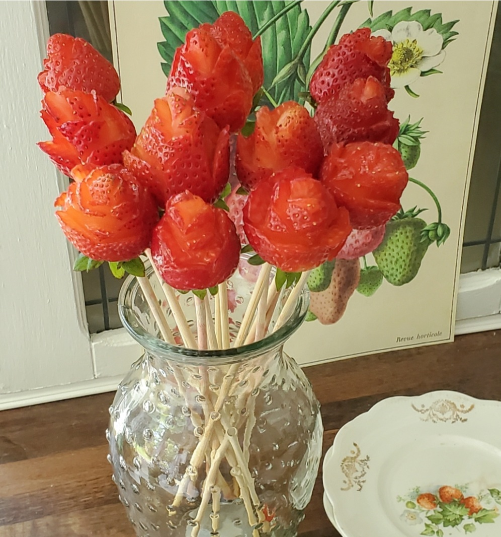 Strawberry roses on skewers strawberry rose bouquet vintage strawberry dishes