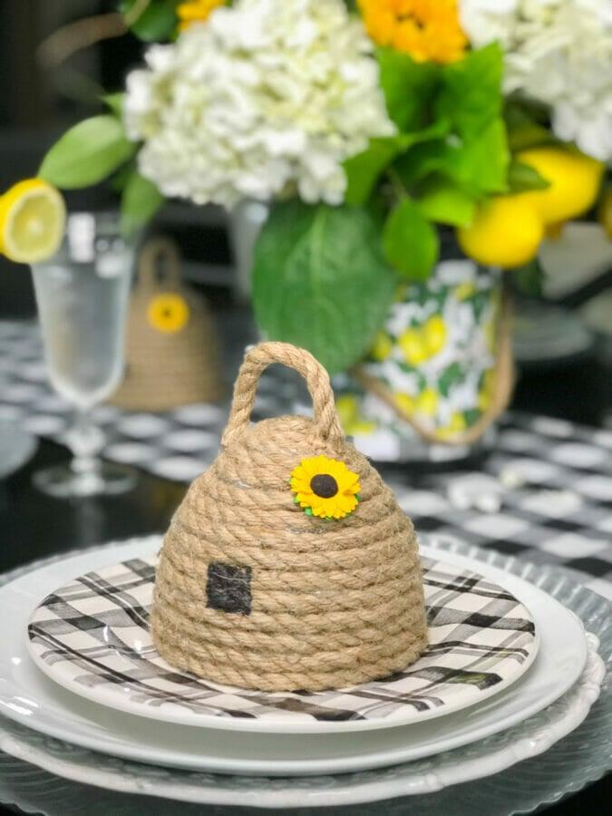 lemon tablescape bee skep summer tablescape